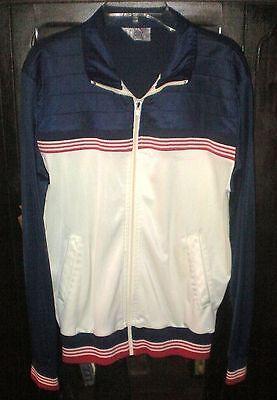 Vintage Track & Court Athletic Lightweight Coat Jacket~Medium~Red White Blue~ZIP