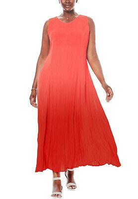 Crinkle Maxikleid orangerot Farbverlauf Sommerkleid Plus size Gr.42/44-58/60