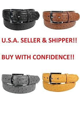 MEN FAUX OSTRICH SKIN GENUINE LEATHER STITCHED BELT w BELT BUCKLE  SIZE S M L - Leather Stitched Belt Buckle