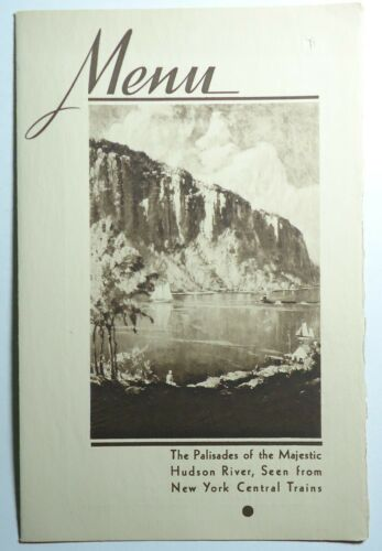 New York Central Railroad 1941  Folder Menu - Hudson River Cover - The Pacemaker