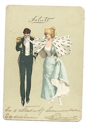 SALUTE / FASHION  - GENTLEMAN in UNIFORM & LADY Postcard