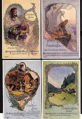 94658 6 AK Schubert Lieder Liedkarte Künstler O. Elsner Wanderers Nachtlied