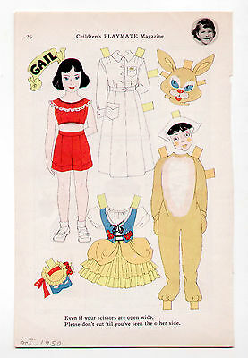 Vintage PLAYMATE HALLOWEEN COSTUMES Paper Doll Oct 1950 uncut Nurse & Bunny - Paper Doll Costumes Halloween