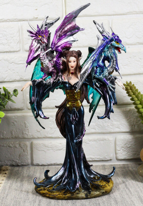 """Ebros Khaleesi Mother of Dragons Statue 10.25"""" Tall Fairy with Two Dragons"""
