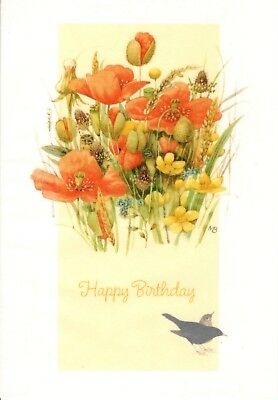 Marjolein Bastin Happy Birthday Birds In The Flower Poppies Garden Hallmark Card ()