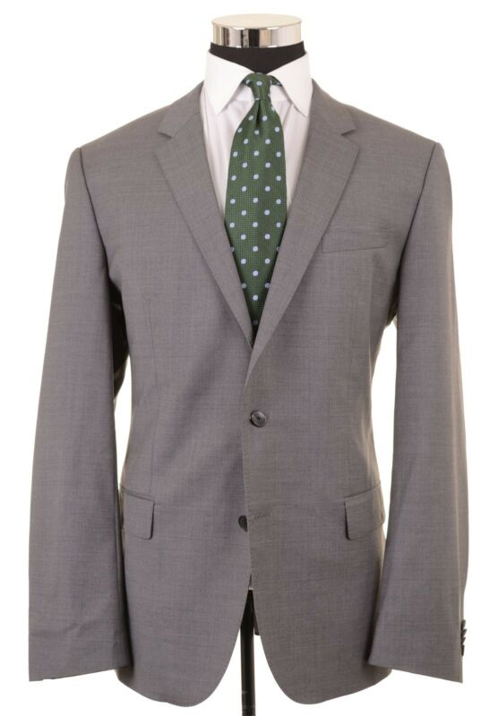 c3301041f RECET Hugo Boss Lightweight REDA Super 110s Wool Solid Gray Sport Coat 44 R