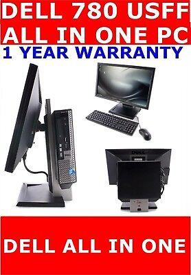 "DELL 780 USFF ALL IN ONE COMPUTER PC 22"" TFT 250GB HD 8GB RAM WINDOWS 10 /7"