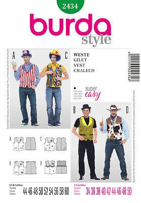 Burda Style Schnittmuster - Kostüm - Weste - Clown, Cowboy, Kellner - Nr. 2434