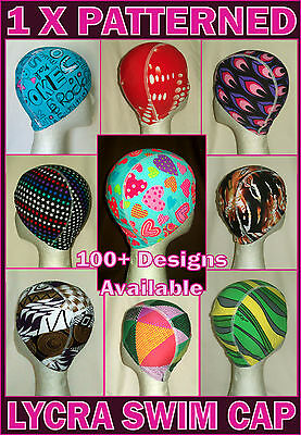 PATTERNED LYCRA SWIM CAP - Adult or Kids - 1 x Swimming Hat Adults / Childs  NEW Lycra Swim Cap