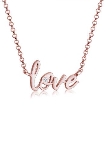 Elli Halskette Love Liebe Wording Swarovski® Kristalle 925 Silber