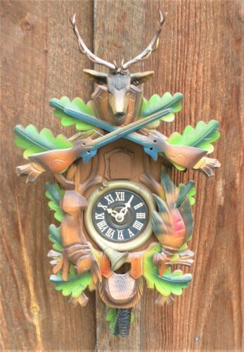 Backmaier & Klemmer PAINTED WOOD HUNTER CUCKOO CLOCK Complete U.S.ZONE GERMANY