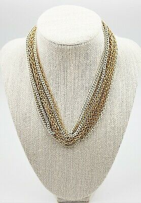 60s -70s Jewelry – Necklaces, Earrings, Rings, Bracelets Gold Tone & Enamel 12 strand Women's Necklace Vintage 1960's USA Collectable  $70.51 AT vintagedancer.com