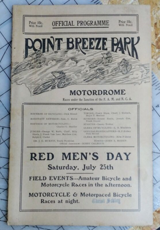 1914 Motordrome Motorcycle Bicycle Original Program Point Breeze Park