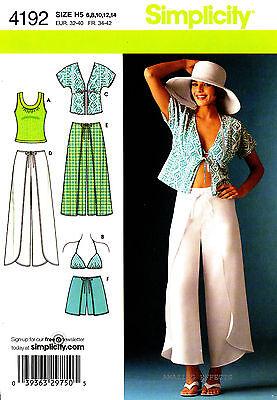 Simplicity Sewing Pattern 4192 Women's 6-14 Wrap Pants Shorts Kimono Top Bra top