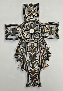 DECORATIVE WALL CROSS HAND CARVED WOOD PAINTED BLACK AND GOLD