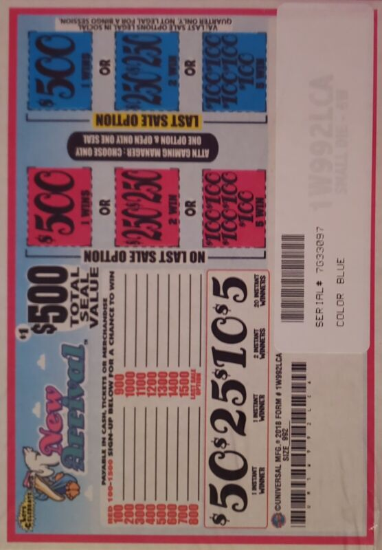 """pull tabs """"NEW ARRIVAL"""" $1 Game $NICE PAYOUT"""