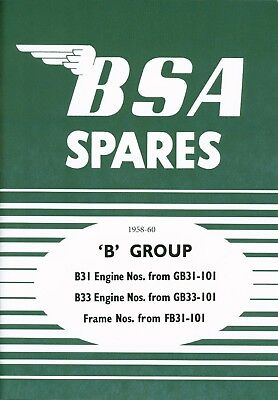 BSA Spare Parts Book  B31 B33 Motorcycles 1958 on Alternator Coil ignition Model
