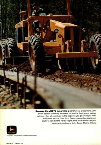 1970 John Deere Equipment Print Advertisement:  Model JD570 Grader Featured