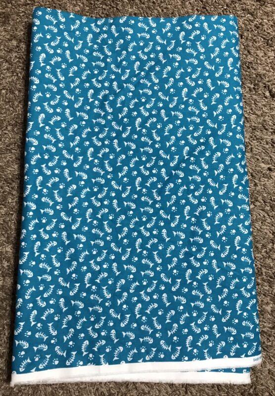 NEW 6 yards FISH BONES turquoise DAISY KINGDOM Spring Industries cotton fabric
