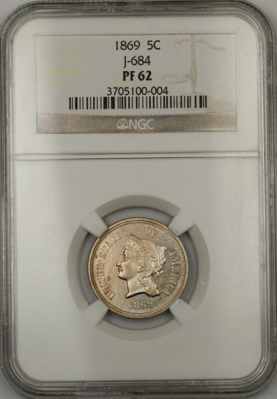 1869 5c Nickel Pattern Proof Coin Ngc Pf-62 J-684 Judd