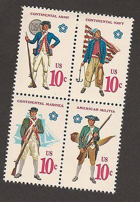 US 1568a American Bicentennial Military Uniforms 10c block set MNH 1975