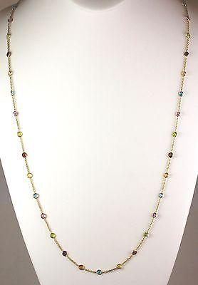 14k Yellow, Rose or White Gold, Multi-Color, Semi-Precious Stones Necklace 36