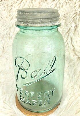 Ball Perfect Mason Jar Blue Glass Zinc Lid w/ Glass Insert #6