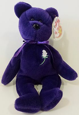 VERY RARE 1st EDITION PVC ~ PRINCESS (Diana) Bear 1997 Ty Beanie Baby ~ MINT!!!