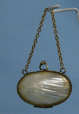 Antique Victorian Mother Of Pearl Doll Purse French Fashion German Bisque