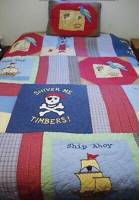 Pirate Treasure Cove Quilted Cotton Queen Comforter 1 Standard Sham Heavyweight