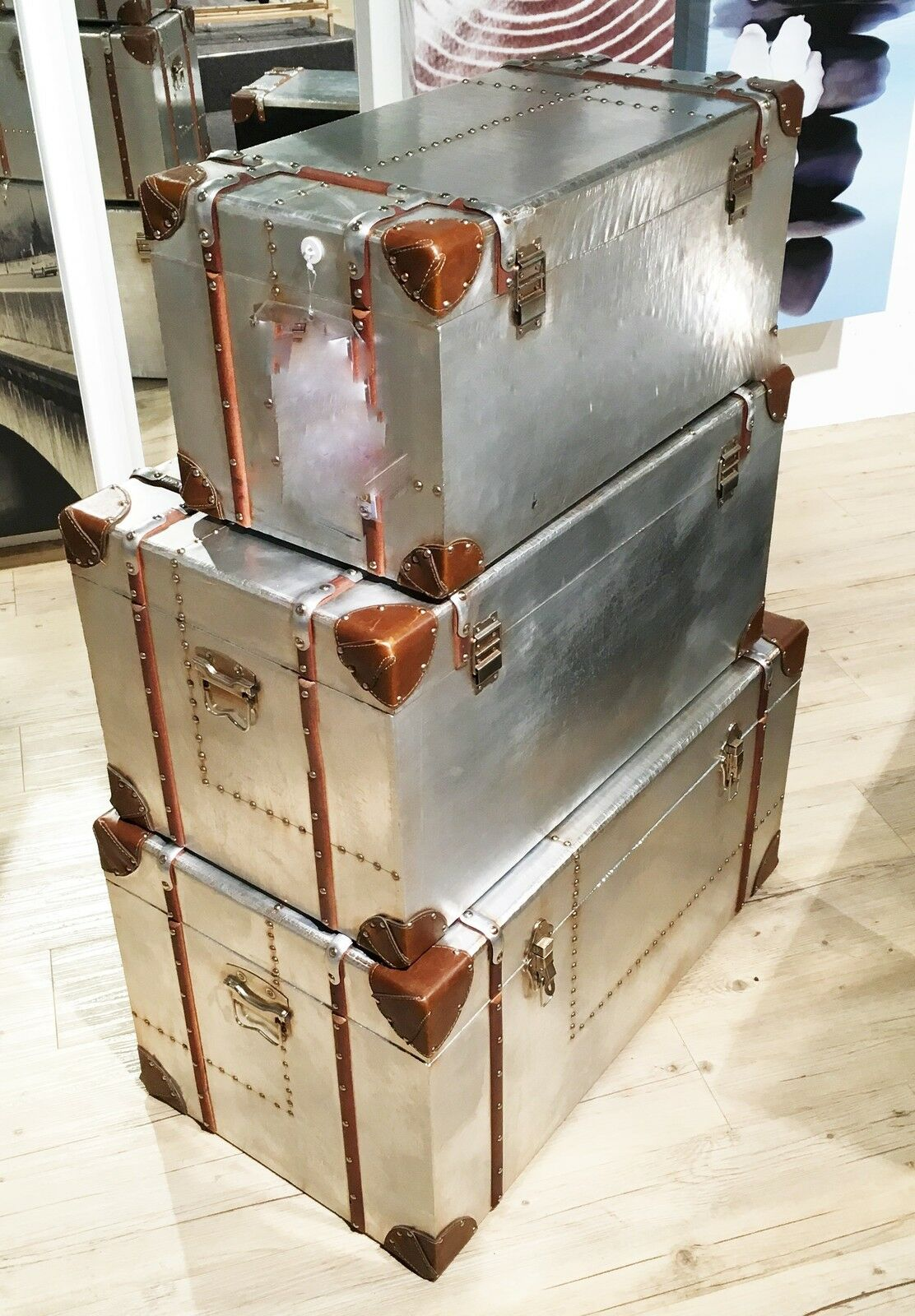 vintage retro couchtisch alu aluminium set 3 stk koffer. Black Bedroom Furniture Sets. Home Design Ideas