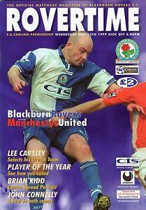 Blackburn Rovers v Man Utd 1998-1999 Treble Season Programme Manchester United
