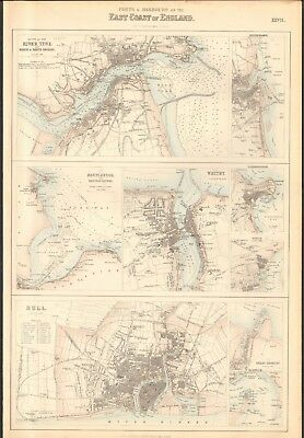 1874 ca LARGE ANTIQUE MAP- BARTHOLOMEW - RIVER TYNE, WHITBY, HULL, SCARBOROUGH