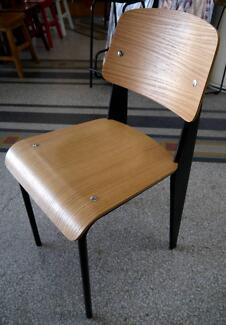 New Black Metal Replica Jean Prouve Timber Standard Dining Chairs