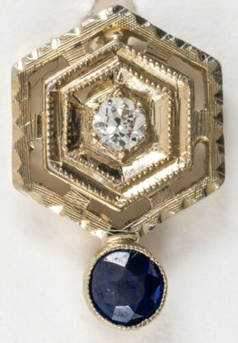 Antique Art Deco 18K White Gold Stick Pin w Diamond & Sapphire