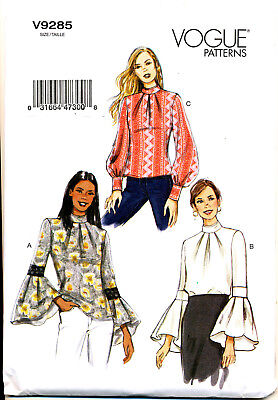 VOGUE SEWING PATTERN 9285 MISSES 6-14 LOOSE TOP W/ PLEATED BELL OR CUFF SLEEVES