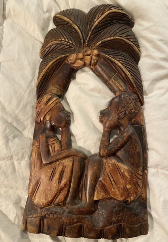 African Couple Hand Carved Wood Wall Hanging