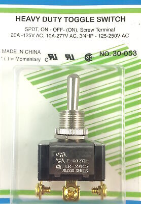 Heavy Duty Bat Handle Toggle Switch Spdt On-off-on 20a 125vac
