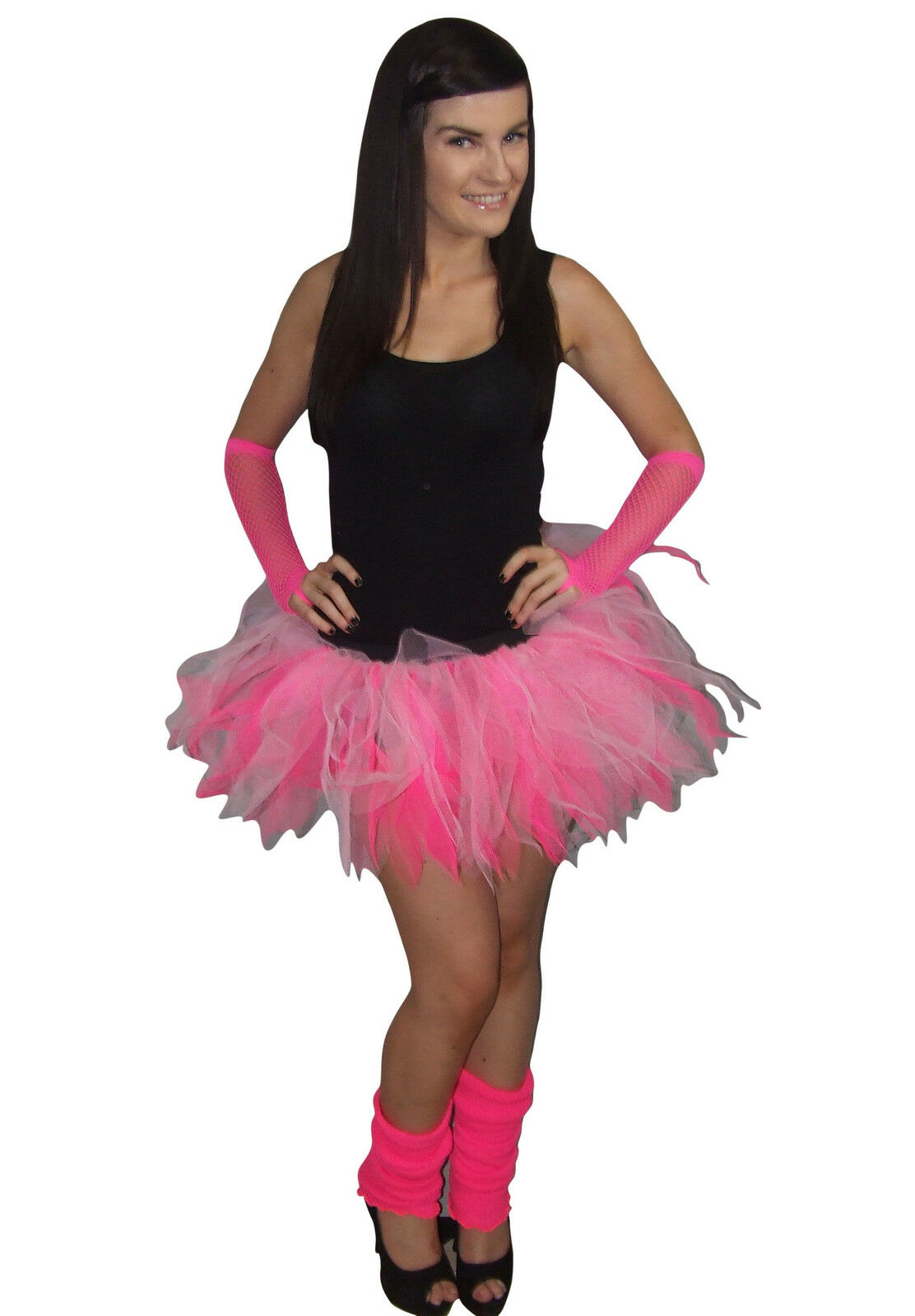 Neon Pink Tutu Skirt 80/'s Fancy Dress Hen Party Fun Run Flo Green Set Costume