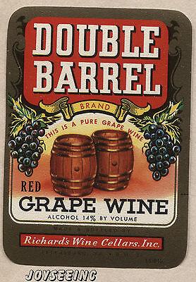 DOUBLE BARREL RED GRAPE WINE Vintage PETERSBURG VA. USA WINE LABEL ÉTIQUETTE