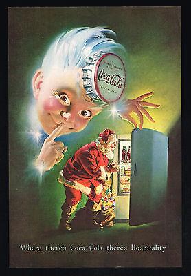 1948 Coke Christmas Santa Sprite Boy Coca Cola Vintage Print Ad