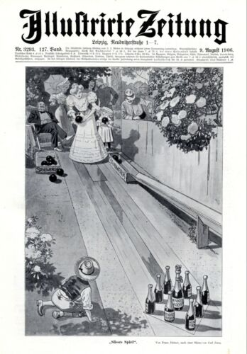 Bowling alley & chocolate XL 1906 ad champagne advertising Stollwerck & Henkell