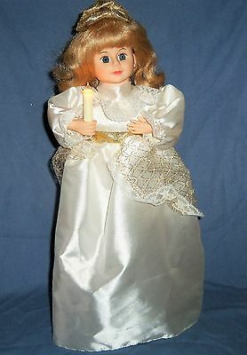 "18"" Animated Musical Lighted GIRL DOLL Christmas Figurine Display White Angel"