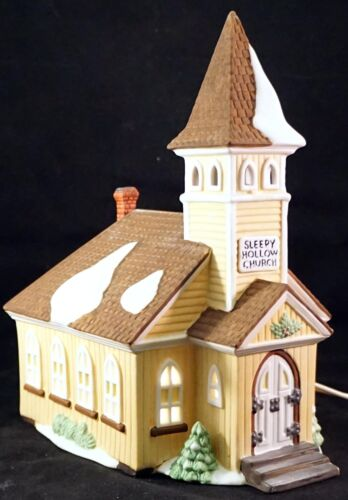 Dept 56 Heritage Village New England  Sleepy Hollow Church Lighted Porcelain