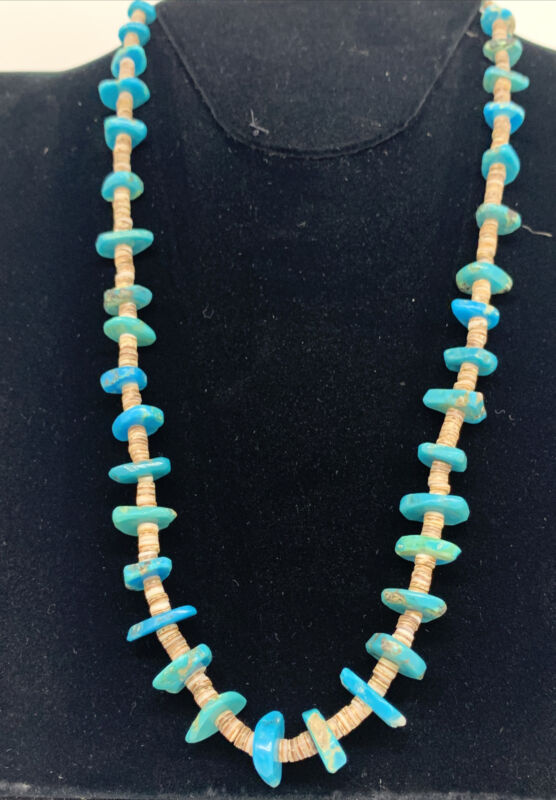 Vintage handmad Native American Chiclet Nugget royston turquoise heishi necklace