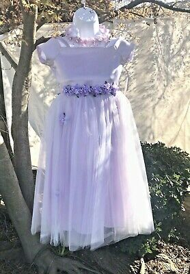 KIDS COLLECTION DRESS Flower Girl Special Occasion w/ Floral Crown Lilac Size 8