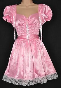 JOL 77 Gorgeous satin French maid dress, BN, figure hugging, XL, baby pink