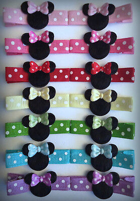 Girl Toddler Baby Minnie Mouse Hair Clips Bows Bowtique Holiday Dots - Minnie Mouse Hair Clips