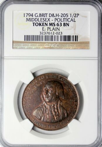 1794 Britain Middlesex Hardy & Jury Halfpenny Conder Token D&H-205 NGC MS-63 BN