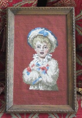 ANTIQUE TAPESTRY NEEDLEPOINT PETIT POINT CHILD GIRL BONNET PINK FRAMED